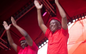 EFF leader Julius Malema (right) with deputy Floyd Shivambu in Soshanguve at the launch of party election manifesto