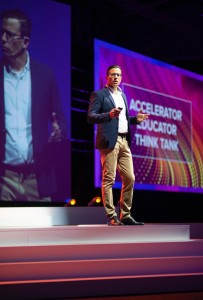 SingularityU South Africa Co-CEO, Shayne Mann addressing Africa Exponential Finance Summit at the Cape Town International Convention Centre, South Africa. Photo by Mthulisi Sibanda, CAJ News