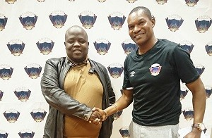 "Newly appointed Chippa United Coach, Norman Mapeza with club owner Siviwe ""Chippa"" Mpengesi"