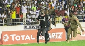Awal Suleman's football pitch invasion caught security unawares in an encounter between Ghana and South Africa. Photo, Graphic Daily